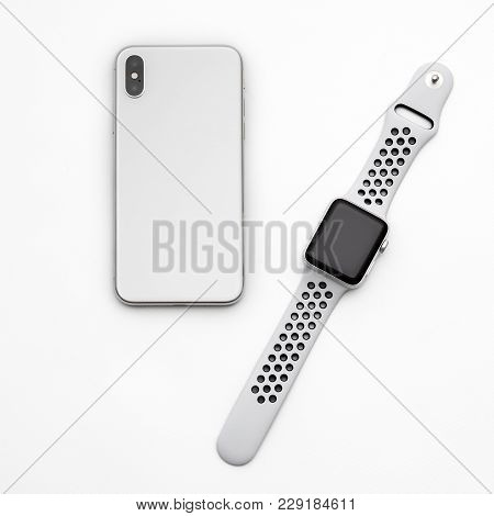Kyiv, Ukraine - 26 January, 2018: New Iphone X Smartphone Model And Apple Watch Close Up. Newest App