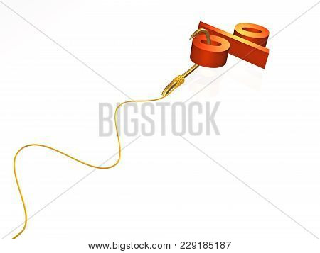 Hook With Percent Sign On White Background, 3d Illustration.