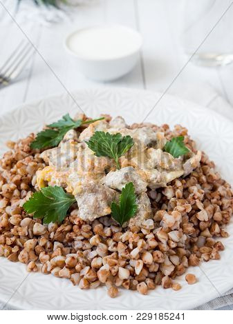 Buckwheat Porridge With A Side Of Chicken Liver With Cream Sauce.