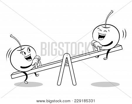 Cherry On Seesaw Teeter Totter Board Coloring Vector Illustration. Cartoon Food Character. Isolated