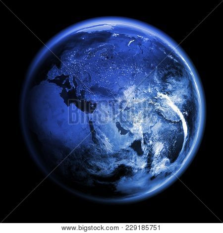 Planet Earth 3d Rendering. Space Model, Maps Courtesy Of Nasa