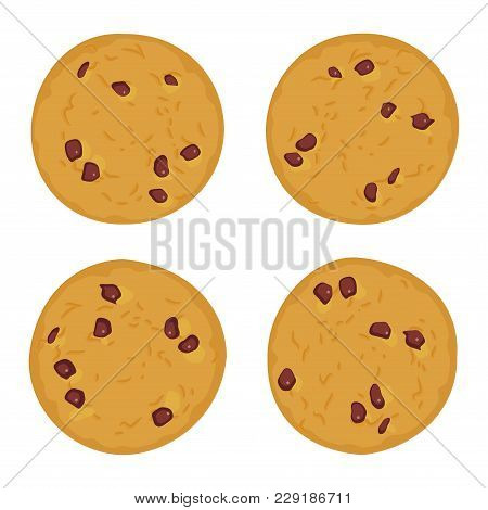 Chocolate Chip Cookie Set, Freshly Baked Four Cookies Isolated On White Background. Bright Colors. V