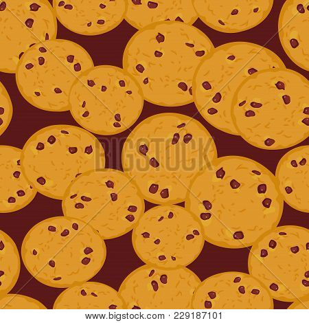 Seamless Pattern Sugar Chocolate Chip Cookie, Freshly Golden Toasted Baked Cookies. Bright Colors Da