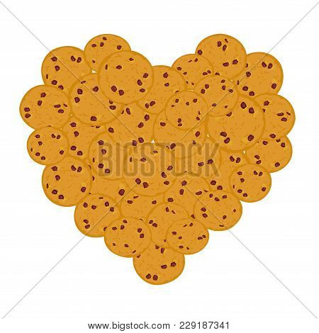 Heart Chocolate Chip Cookie Set, Freshly Baked Four Cookies On White Background. Bright Colors. Vect