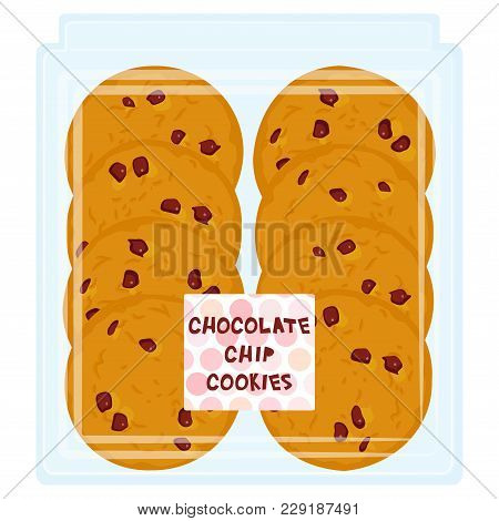 Hand Made Chocolate Chip Cookie, Freshly Baked In Transparent Plastic Box Package Isolated On White