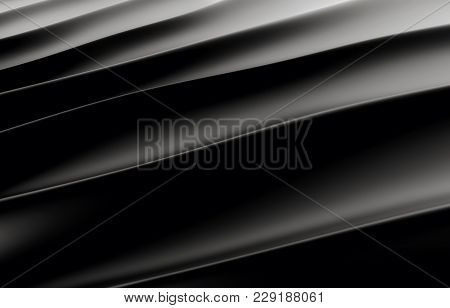 Black Silk Drapery And Fabric Background. 3d Rendering