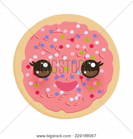 Kawaii Frosted Sugar Cookies, Italian Freshly Baked Biscuit With Pink Frosting And Colorful Sprinkle