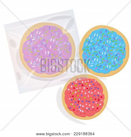 Frosted Sugar Cookies, Set Italian Freshly Baked Cookies In Transparent Plastic Package With Pink Vi