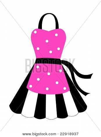 Pink and black apron