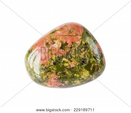 Green And Pink Natural Rock Unakit Isolated On White Background