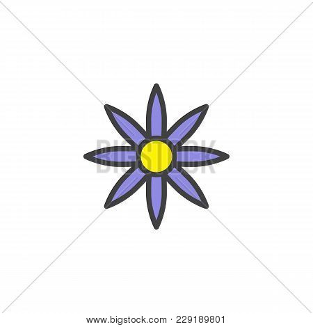 Flower Filled Outline Icon, Line Vector Sign, Linear Colorful Pictogram Isolated On White. Floret Sy