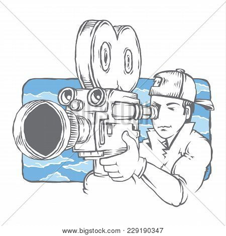 Vector Isolated Camera Crew Cameraman In The Movie. Camera, Shooting The Film.operator Director