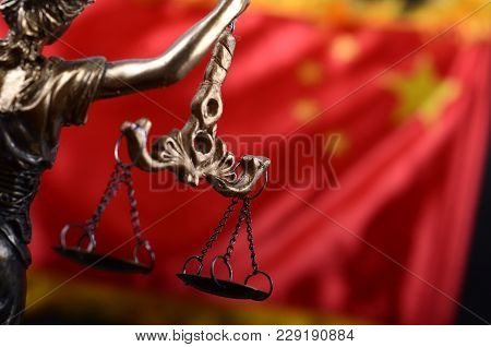 Law And Justice, Legality Concept, Scales Of Justice, Justitia, Lady Justice In Front Of The Flag Of