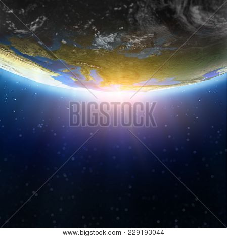 Europe Defocused Space Background. Elements Of This Image Furnished By Nasa 3d Rendering