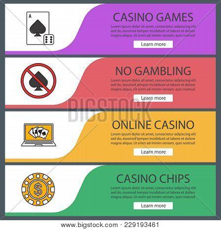 Casino Web Banner Templates Set. Card Game, Gambling Prohibition, Online Poker, Casino Chip. Website
