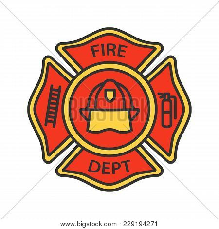 Fire Department Badge Color Icon. Firefighting Emblem With Helmet, Ladder And Extinguisher. Isolated
