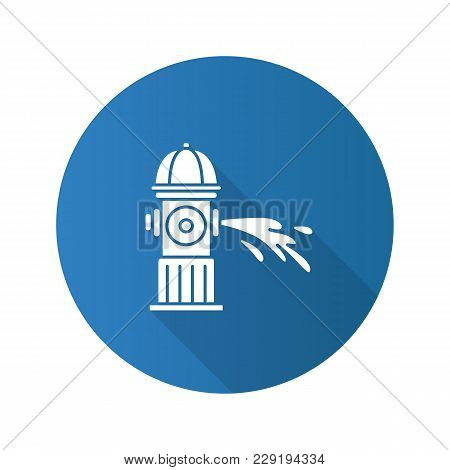 Fire Hydrant Gushing Water Flat Design Long Shadow Glyph Icon.  Fireplug. Vector Silhouette Illustra