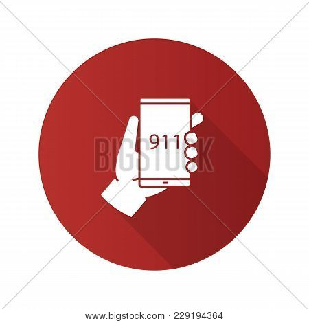 Emergency Calling Flat Design Long Shadow Glyph Icon. Hand Holding Smartphone With 911 Number. Vecto