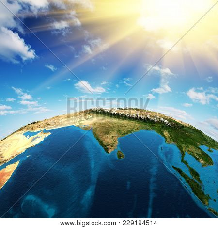 India. Elements Of This Image Furnished By Nasa 3d Rendering