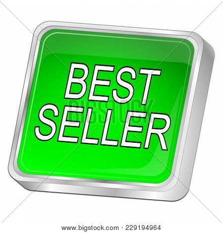 Green Bestseller Button On White Background - 3d Illustration