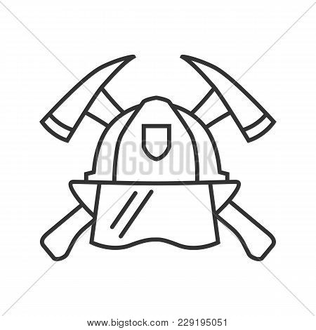 Firefighters Maltese Cross Linear Icon. Protection Helmet And Crossed Axes. Thin Line Illustration.