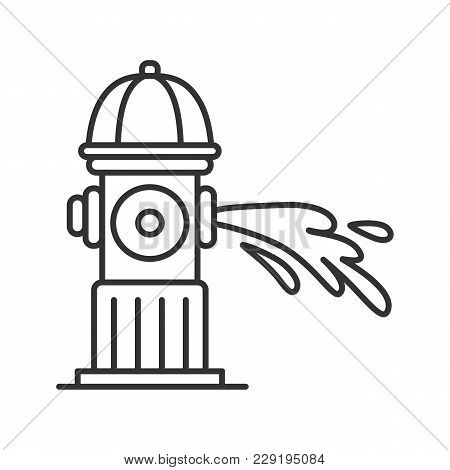 Fire Hydrant Gushing Water Linear Icon. Fireplug. Thin Line Illustration. Contour Symbol. Vector Iso