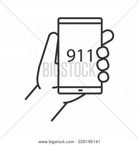 Emergency Calling Linear Icon. Thin Line Illustration. Hand Holding Smartphone With 911 Number. Cont