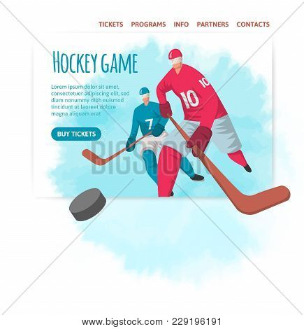 Two Hockey Players In Abstract Flat Style. Vector Illutration, Design Template Of Sport Site Header,