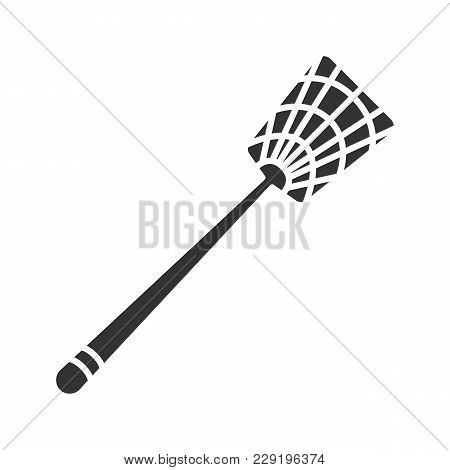 Fly-swatter Glyph Icon. Silhouette Symbol. Houseflies, Wasps, Moths, Gnats Killing Device. Negative