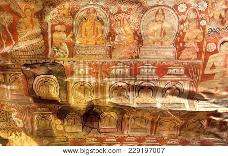 Dambulla, Sri Lanka - Jan 8, 2018: Uneven Surface Of Ceiling With Many Bodies Of Buddha On Fresco, 1