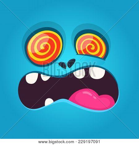 Funny Hypnotized Cartoon Monster Face. Vector Halloween Blue Scary Monster Design