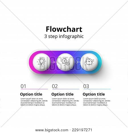 Business Process Chart Infographics With 3 Step Segments. Circular Corporate Timeline Infograph Elem