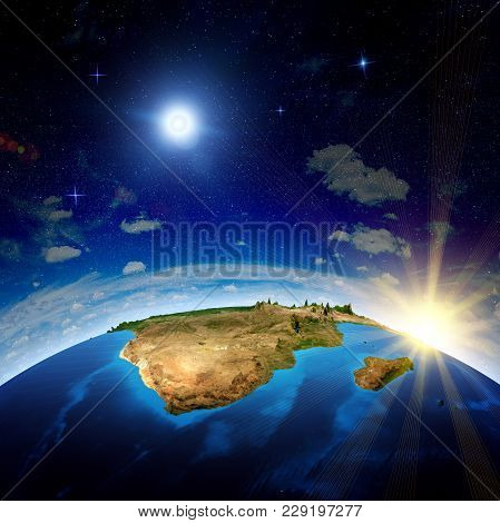 South Africa And Madagascar. Elements Of This Image Furnished By Nasa 3d Rendering