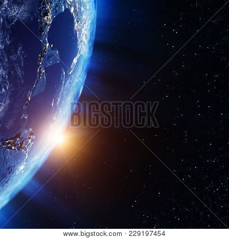America From Space. Elements Of This Image Furnished By Nasa 3d Rendering