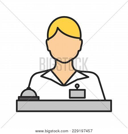Receptionist Color Icon. Secretary, Manager. Isolated Vector Illustration