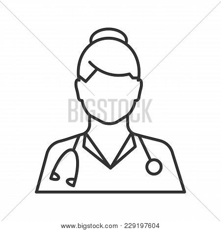 Doctor Linear Icon. Medical Worker. Practitioner. Thin Line Illustration. Contour Symbol. Vector Iso