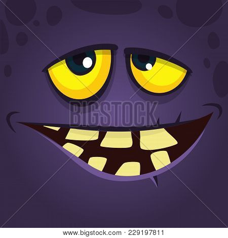 Happy Cool Cartoon Monster Face Avatar With Crooked Smile. Vector Halloween Black Monster Character