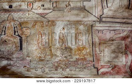 Dambulla, Sri Lanka - Jan 8, 2018: Rare Painting On Ceiling With Servants Of Buddha, 1st Century Bc
