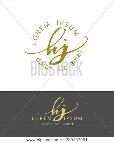 H J. Handdrawn Brush Monogram Calligraphy Logo Design Work