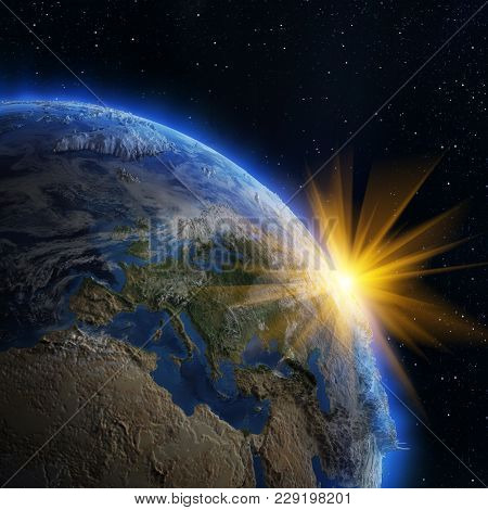 Europe Sunrise From Space. Elements Of This Image Furnished By Nasa 3d Rendering