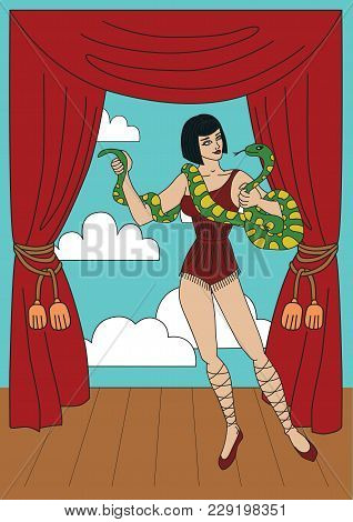 Vintage Circus Illustrations Collection. Tall Woman With The Anaconda. Flash Tattoo
