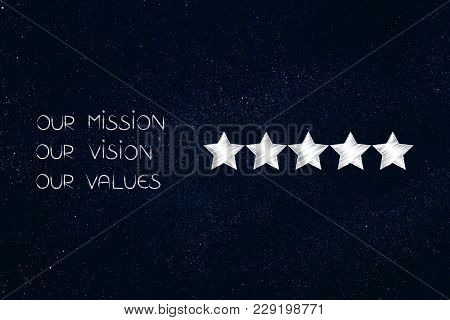 Our Mission, Our Vision, Our Values Text Next To Five Star Rating, Business Concept Illustration