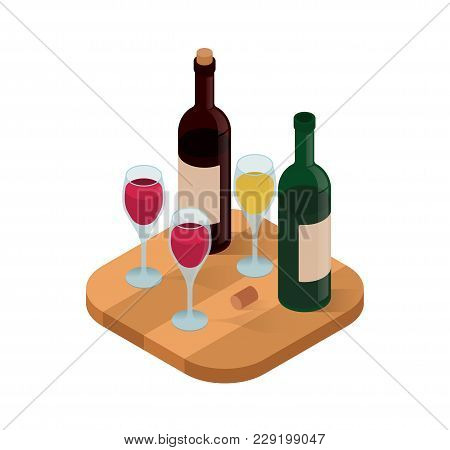 Wine Tasting Isometric Vector Illustration. Wine Shop Or Degustation Concept. Presentation Of Alcoho