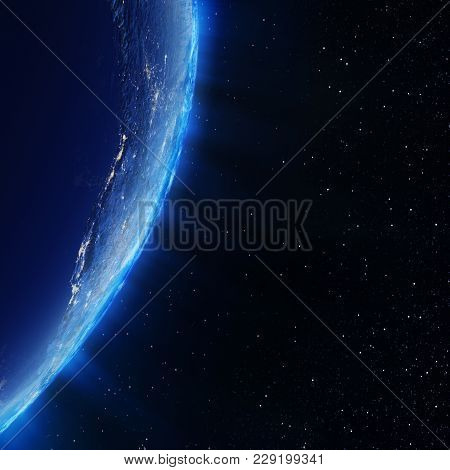 Earth City Lights. Elements Of This Image Furnished By Nasa 3d Rendering