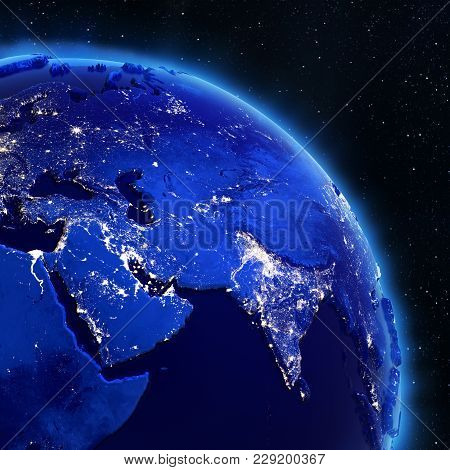 Asia City Lights From Space. Elements Of This Image Furnished By Nasa 3d Rendering