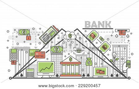 Bank Concept Vector Illustration. Modern Thin Line Art Flat Style Design Element With Banking Symbol