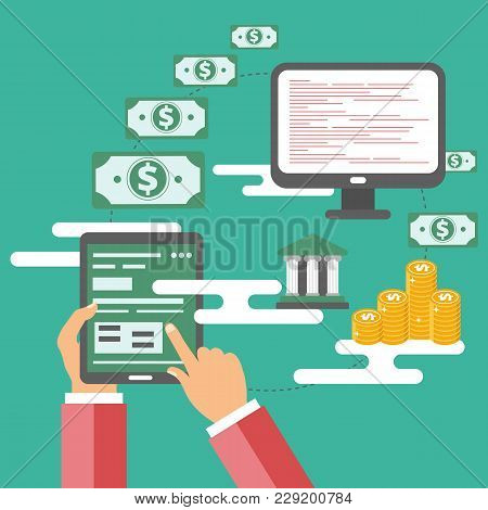 On Line Payment Methods Concept. Icon For Online Payment. Flat Vector Illustration