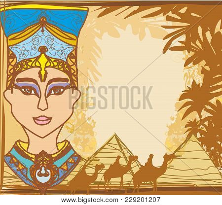 Vintage Frame With Egyptian Queen , Vector Illustration