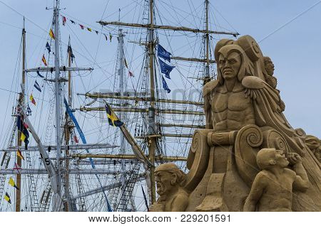 Szczecin, West Pomeranian / Poland - 2017: Tall Ships Races - Sand Sculpture Of Sea Monsters In The