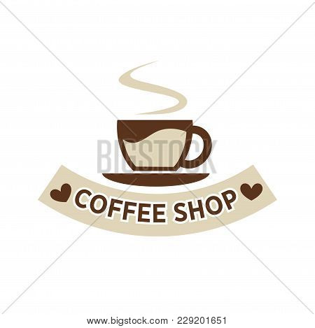 Coffeehouse Coffee Cup And Steam Logo Template With Hearts On Ribbon. Vector Isolated Icon Of Hot St